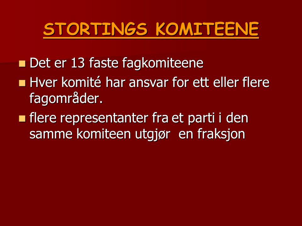 STORTINGS KOMITEENE Det er 13 faste fagkomiteene Det er 13 faste fagkomiteene Hver komité har ansvar for ett eller flere fagområder.