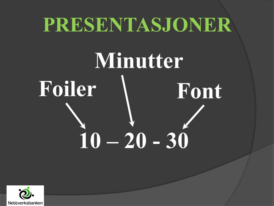 10 – 20 - 30 Foiler Minutter Font PRESENTASJONER
