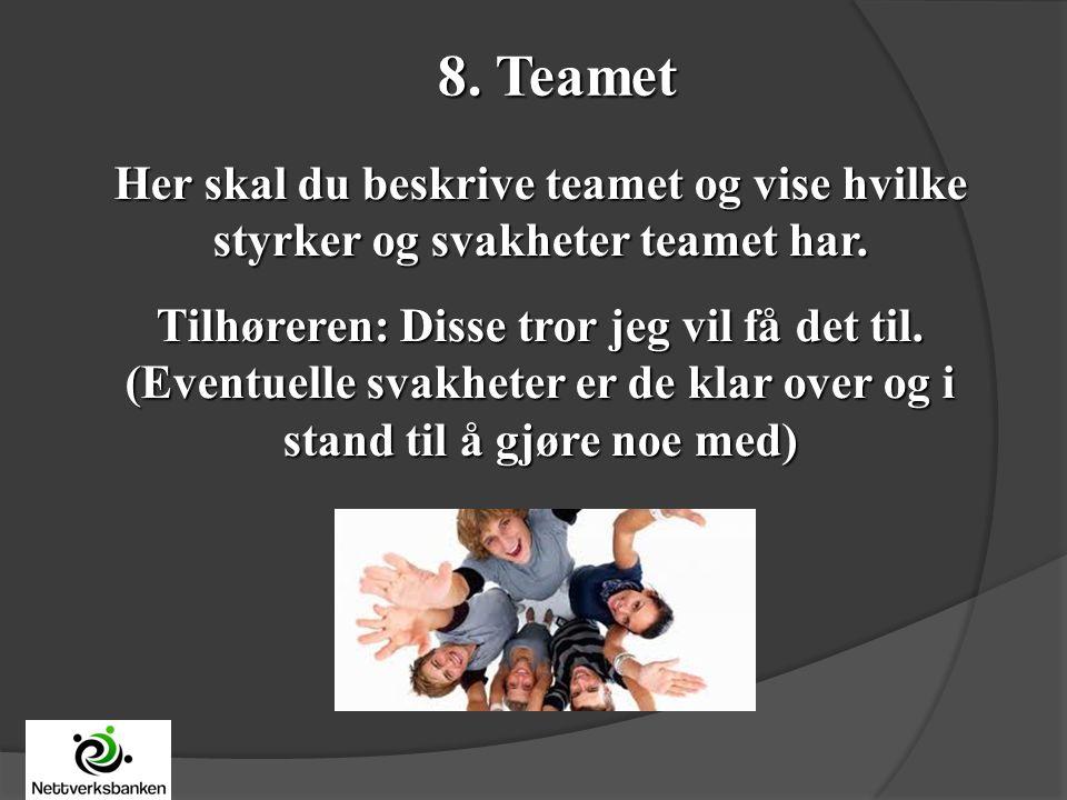 8. Teamet Her skal du beskrive teamet og vise hvilke styrker og svakheter teamet har.