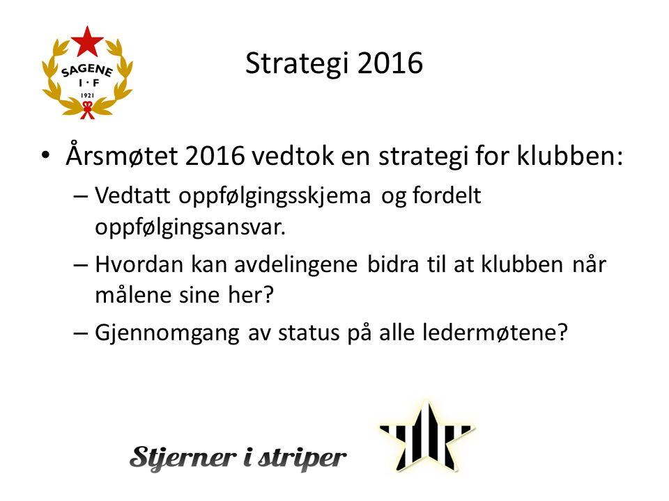 Strategi 2016 Årsmøtet 2016 vedtok en strategi for klubben: – Vedtatt oppfølgingsskjema og fordelt oppfølgingsansvar.