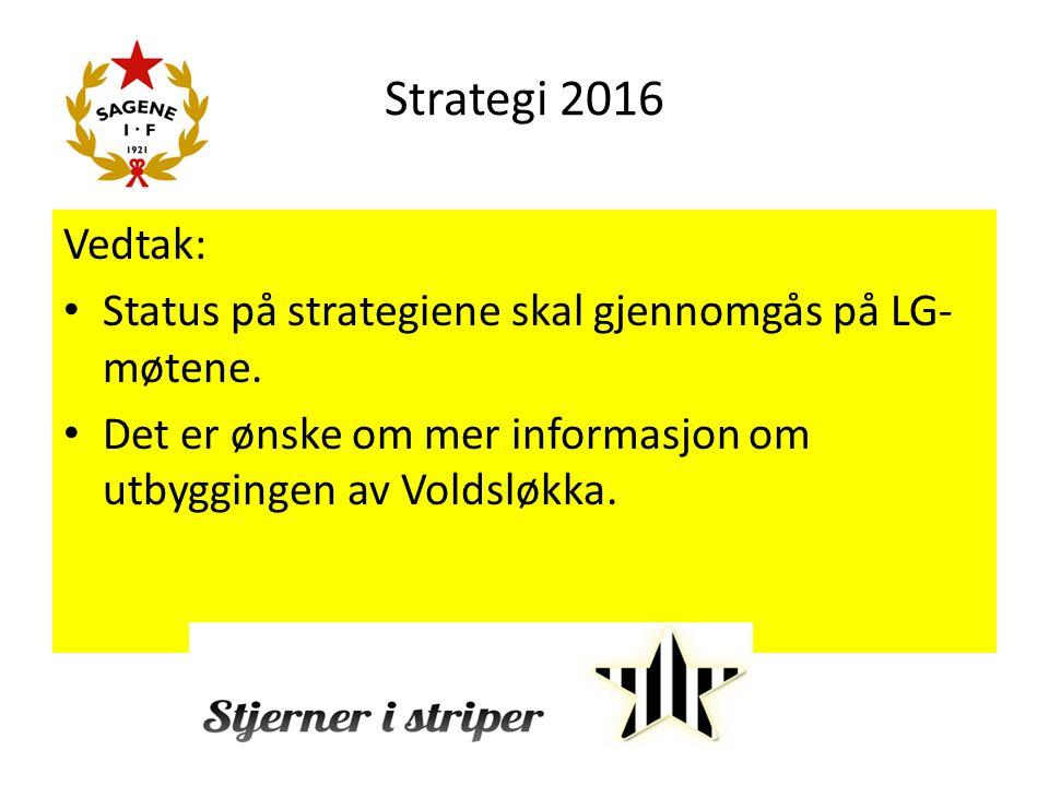 Strategi 2016 Vedtak: Status på strategiene skal gjennomgås på LG- møtene.