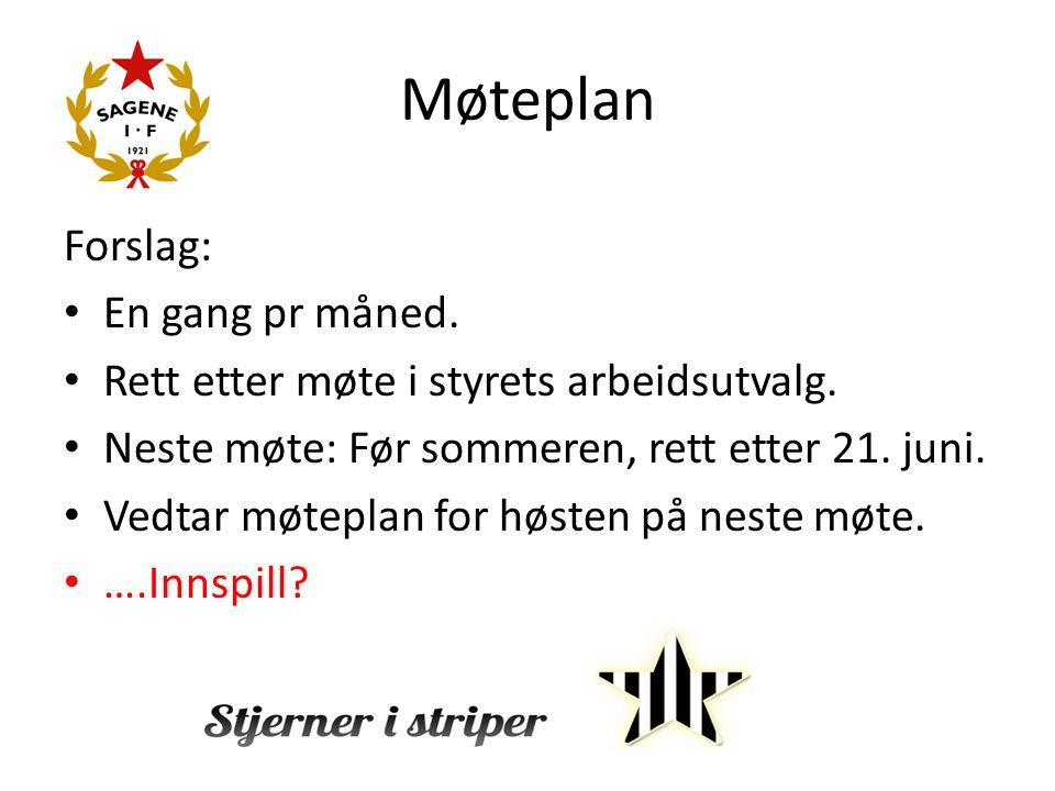 Møteplan Forslag: En gang pr måned. Rett etter møte i styrets arbeidsutvalg.