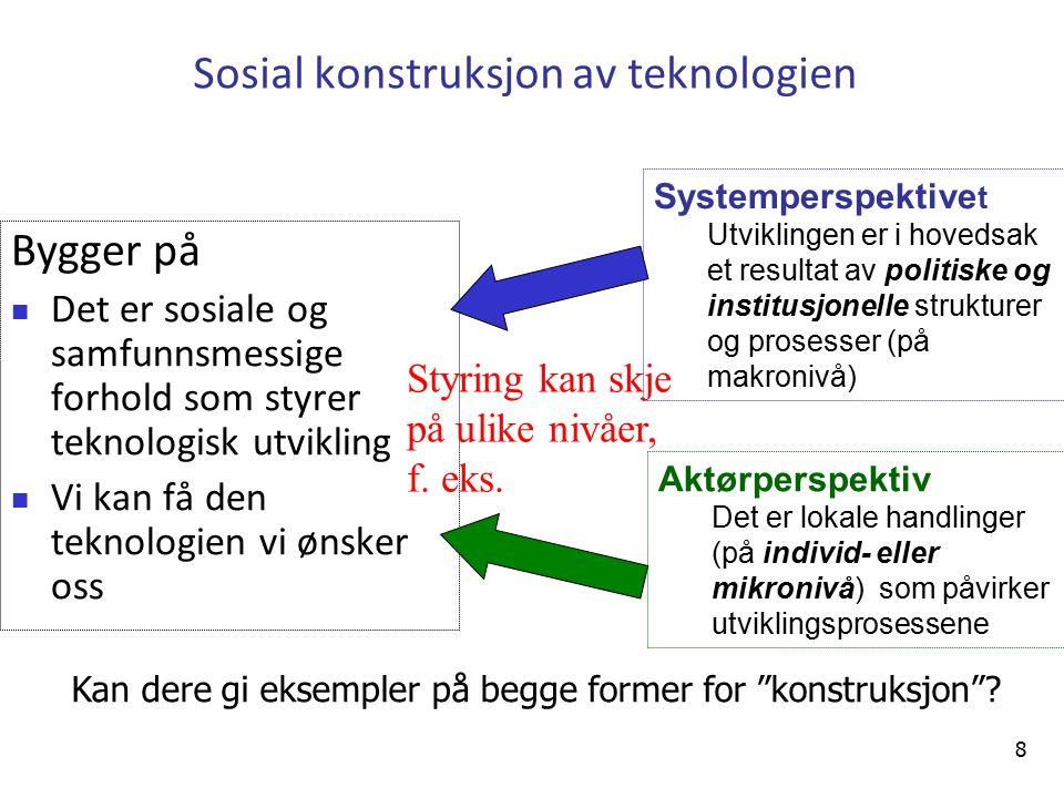 Teknologideterminisme versus Sosial forming av teknologi 9
