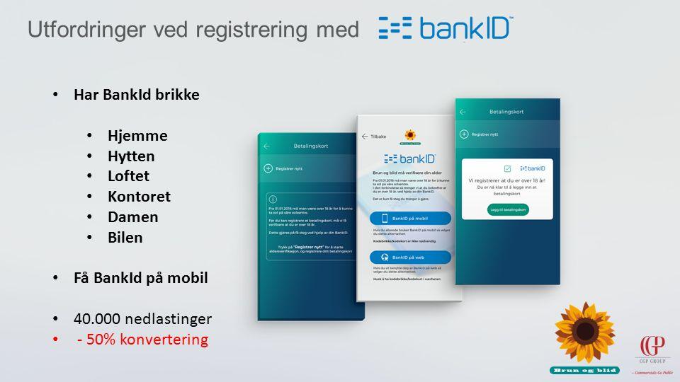 Utfordringer ved registrering med Har BankId brikke Hjemme Hytten Loftet Kontoret Damen Bilen Få BankId på mobil 40.000 nedlastinger - 50% konvertering