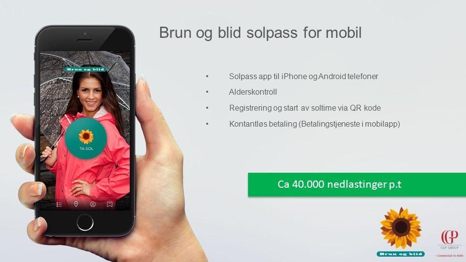 Solpass app til iPhone og Android telefoner Alderskontroll Registrering og start av soltime via QR kode Kontantløs betaling (Betalingstjeneste i mobilapp) Brun og blid solpass for mobil Ca 40.000 nedlastinger p.t