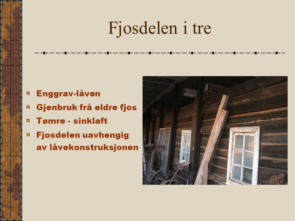 Fjosdelen i tre Enggrav-låven Gjenbruk frå eldre fjos Tømre - sinklaft Fjosdelen uavhengig av låvekonstruksjonen