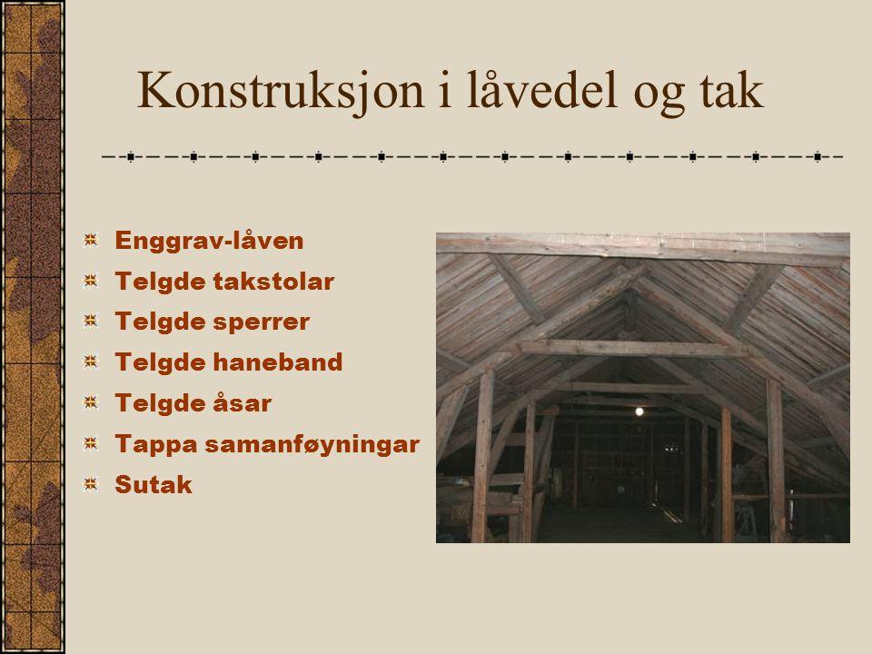 Konstruksjon i låvedel og tak Enggrav-låven Telgde takstolar Telgde sperrer Telgde haneband Telgde åsar Tappa samanføyningar Sutak