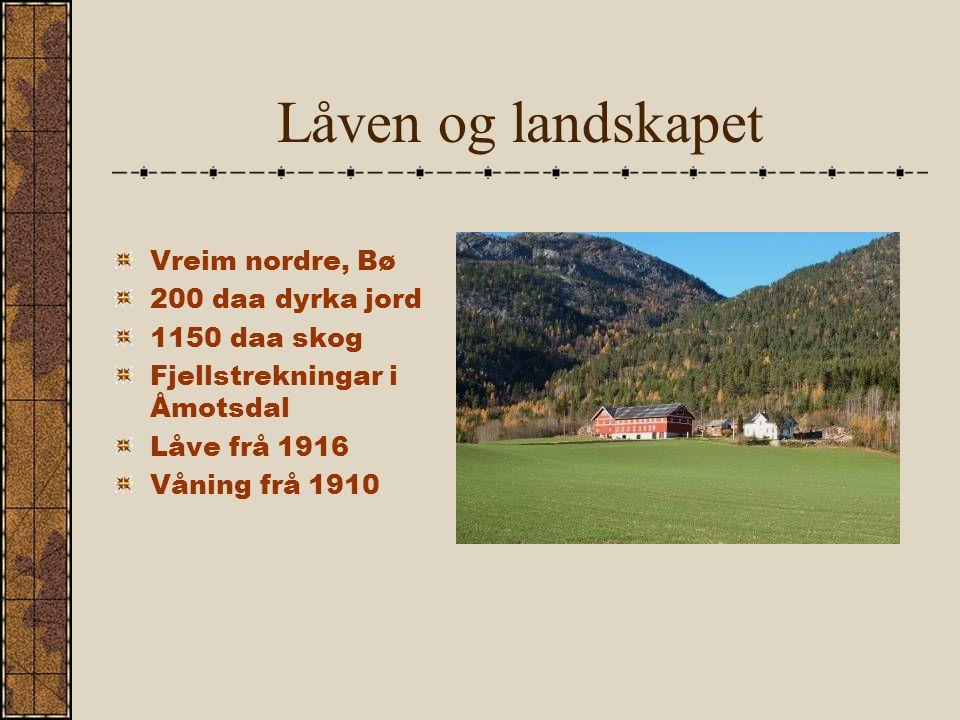 Låven og landskapet Vreim nordre, Bø 200 daa dyrka jord 1150 daa skog Fjellstrekningar i Åmotsdal Låve frå 1916 Våning frå 1910