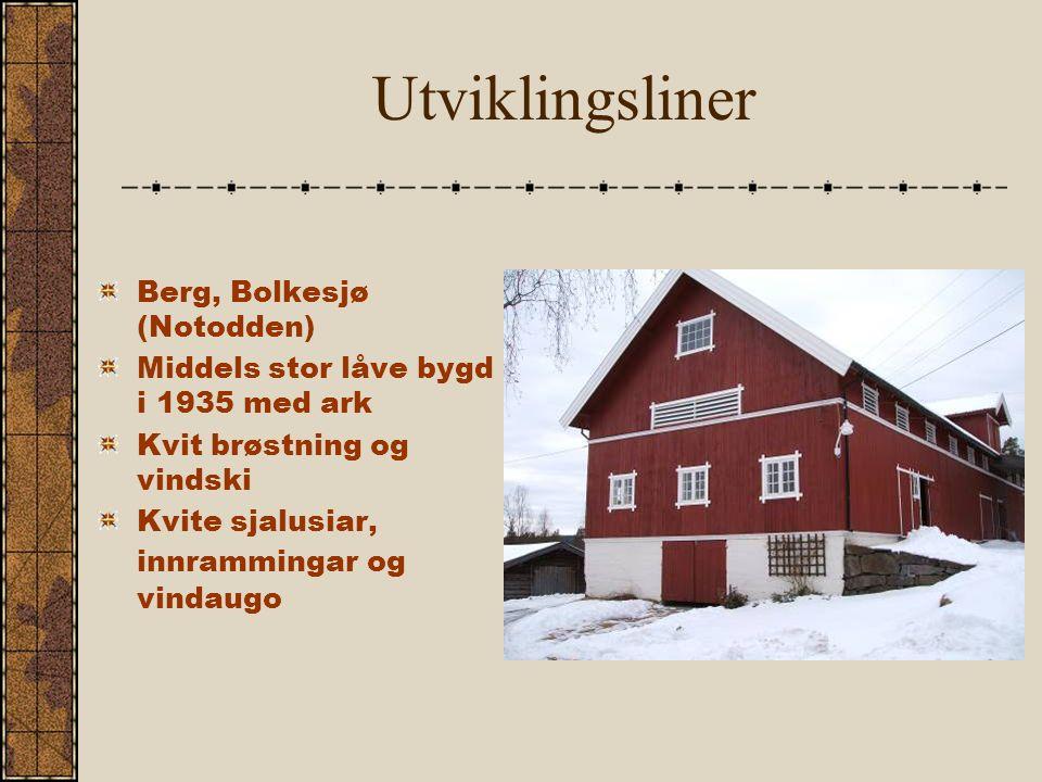 Utviklingsliner Berg, Bolkesjø (Notodden) Middels stor låve bygd i 1935 med ark Kvit brøstning og vindski Kvite sjalusiar, innrammingar og vindaugo
