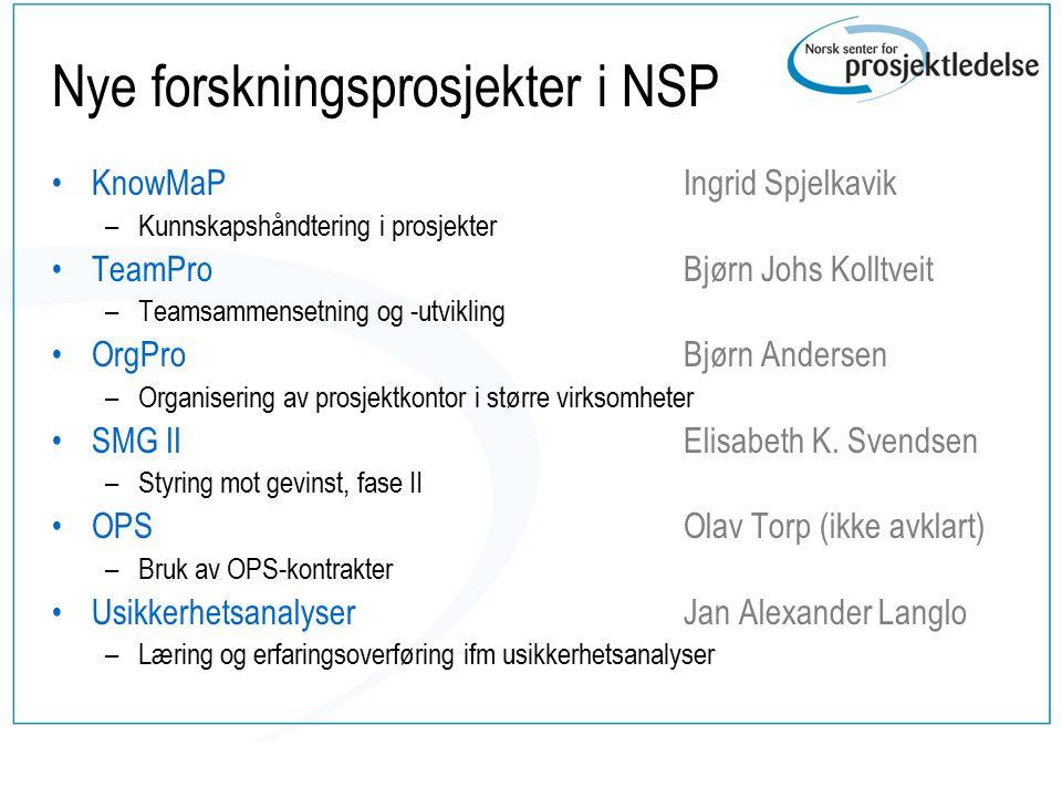 Nye forskningsprosjekter i NSP KnowMaP –Kunnskapshåndtering i prosjekter TeamPro –Teamsammensetning og -utvikling OrgPro –Organisering av prosjektkont
