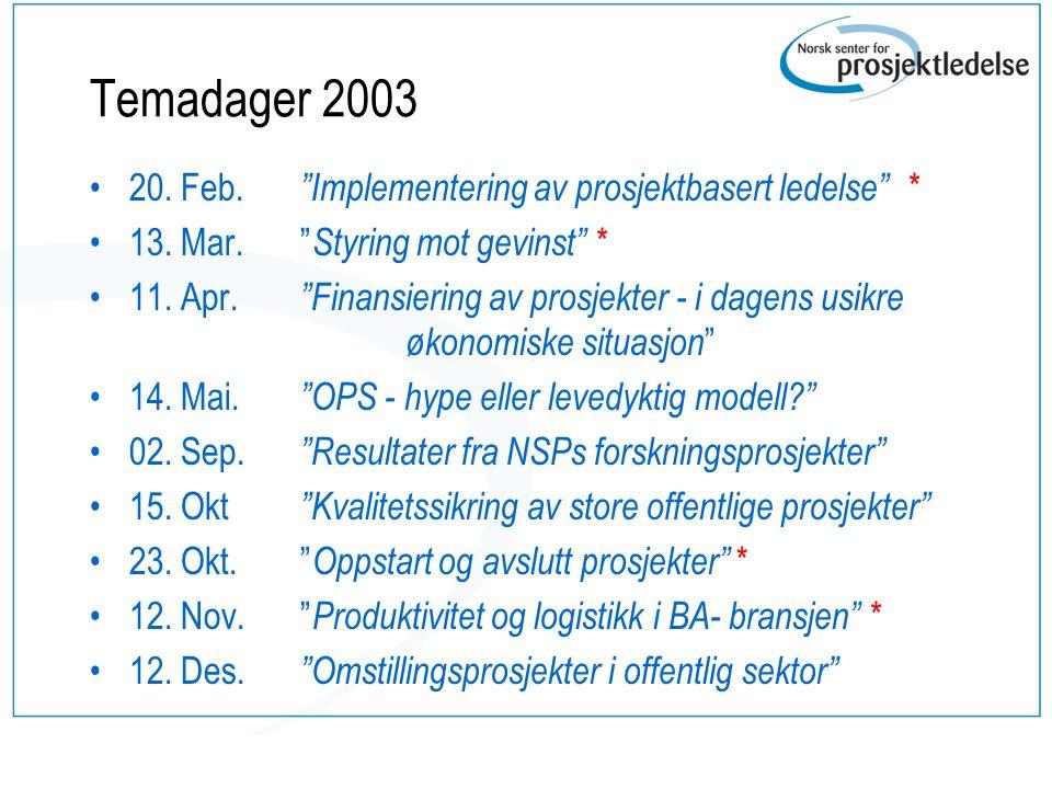 """Temadager 2003 20. Feb. """"Implementering av prosjektbasert ledelse"""" * 13. Mar. """" Styring mot gevinst"""" * 11. Apr. """"Finansiering av prosjekter - i dagens"""