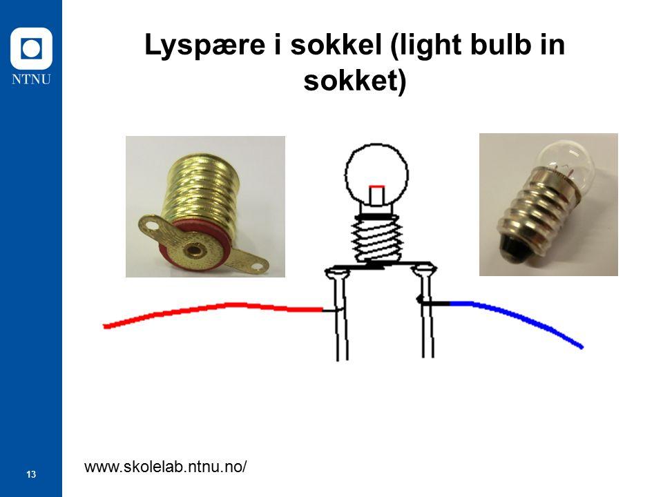 13 Lyspære i sokkel (light bulb in sokket) www.skolelab.ntnu.no/