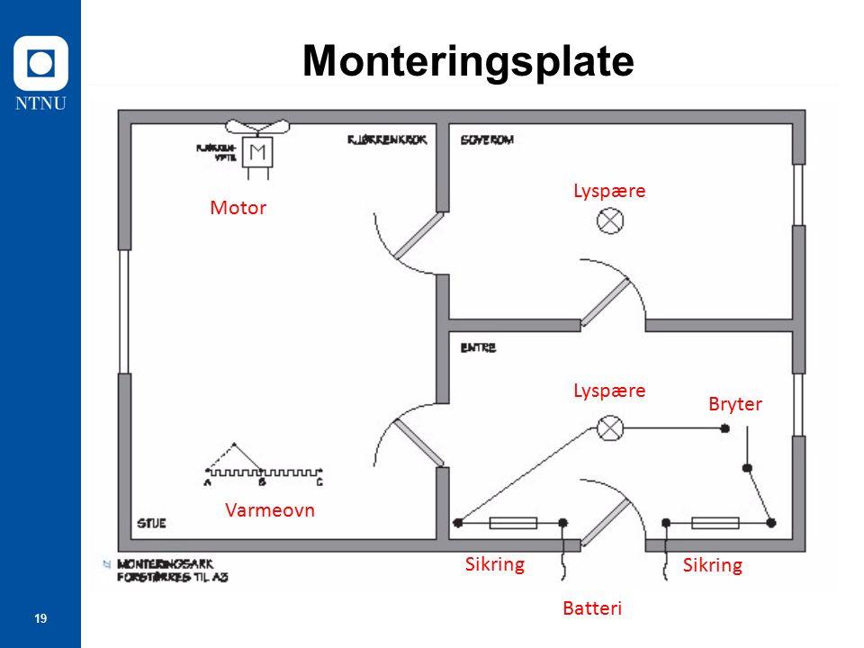 19 Monteringsplate Motor Lyspære Bryter Sikring Batteri Sikring Varmeovn