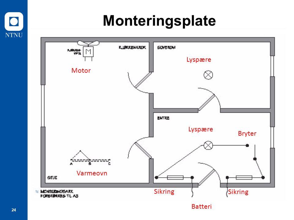 24 Monteringsplate Motor Lyspære Bryter Sikring Batteri Sikring Varmeovn