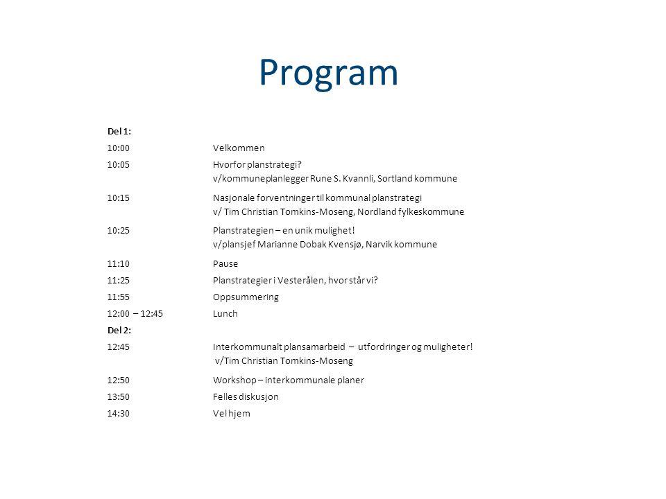 Program Del 1: 10:00Velkommen 10:05 Hvorfor planstrategi.