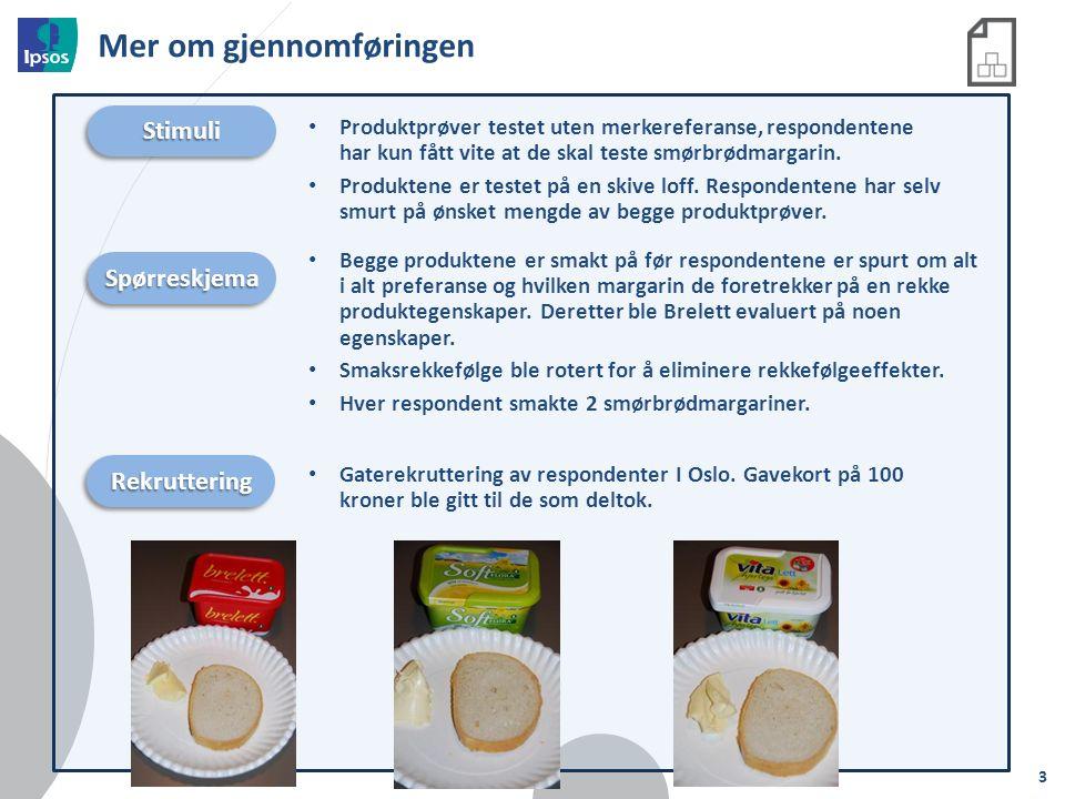 Mer om gjennomføringen StimuliStimuli Produktprøver testet uten merkereferanse, respondentene har kun fått vite at de skal teste smørbrødmargarin.