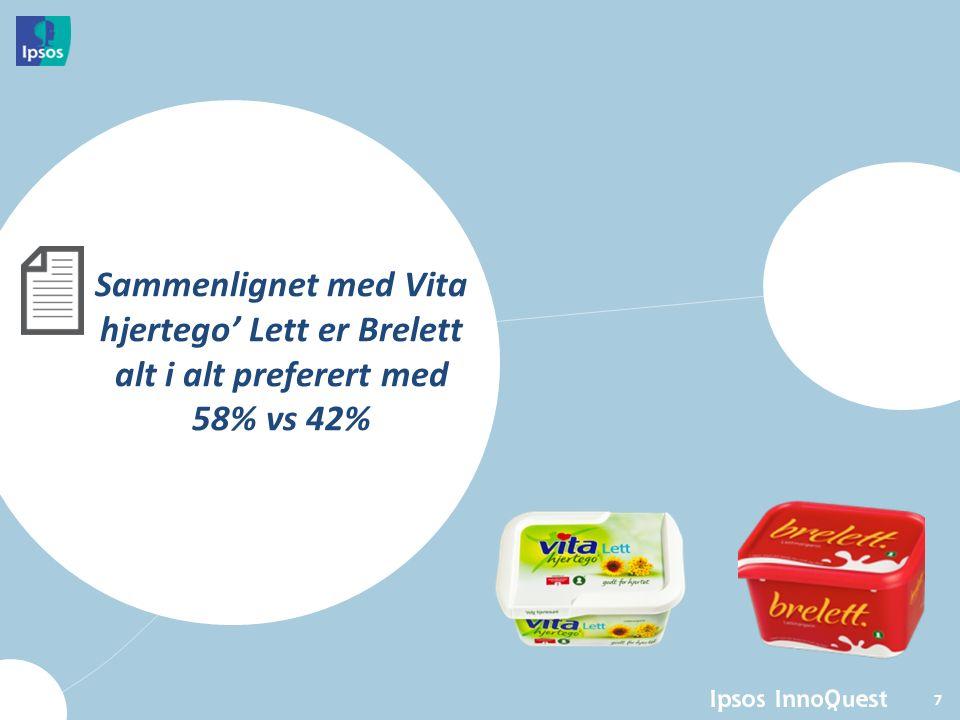 Brelett foretrekkes alt i alt fremfor Vita hjertego' Lett Base: Alle (N=202) Hvilket av de to smørbrødmargarinene foretrekker du alt I alt.