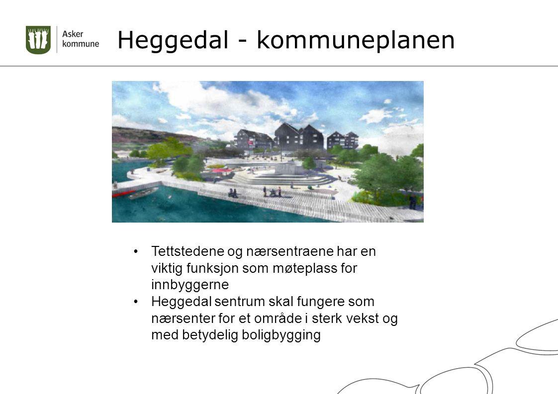 Heggedal - kommuneplanen Tettstedene og nærsentraene har en viktig funksjon som møteplass for innbyggerne Heggedal sentrum skal fungere som nærsenter for et område i sterk vekst og med betydelig boligbygging