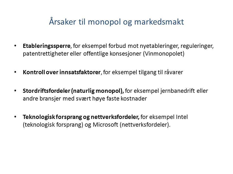 Årsaker til monopol og markedsmakt Etableringssperre, for eksempel forbud mot nyetableringer, reguleringer, patentrettigheter eller offentlige konsesj
