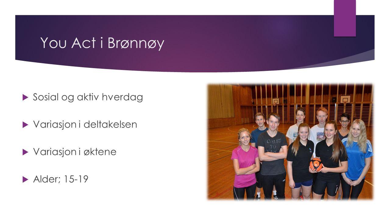 You Act i Brønnøy  Sosial og aktiv hverdag  Variasjon i deltakelsen  Variasjon i øktene  Alder; 15-19