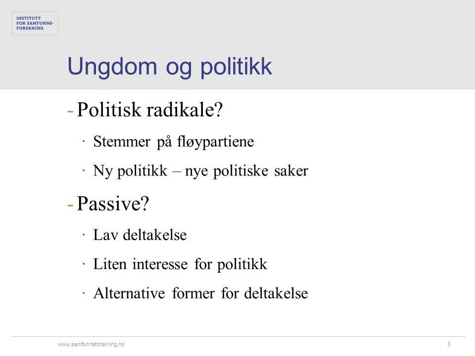 www.samfunnsforskning.no Ungdom og politikk 3 Politisk radikale.