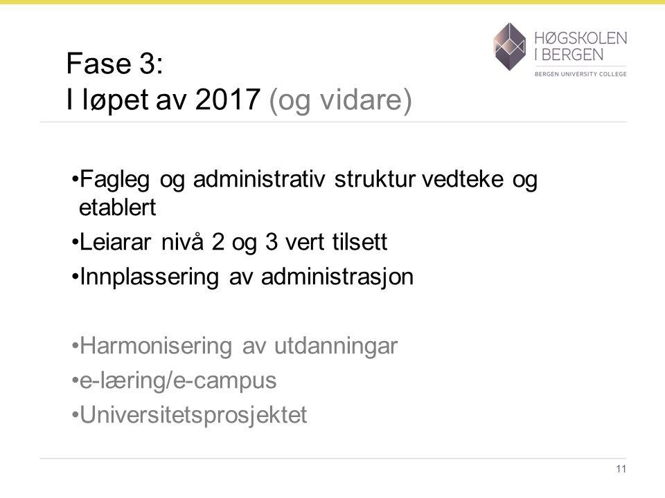 Fase 3: I løpet av 2017 (og vidare) Fagleg og administrativ struktur vedteke og etablert Leiarar nivå 2 og 3 vert tilsett Innplassering av administras