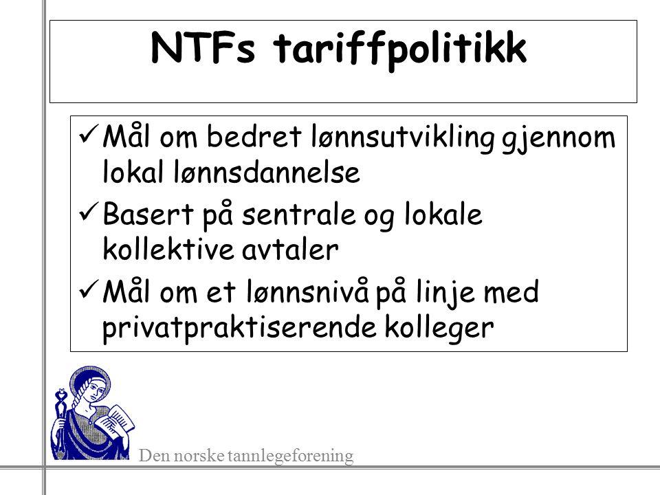NTFs tariffpolitikk Mål om bedret lønnsutvikling gjennom lokal lønnsdannelse Basert på sentrale og lokale kollektive avtaler Mål om et lønnsnivå på linje med privatpraktiserende kolleger