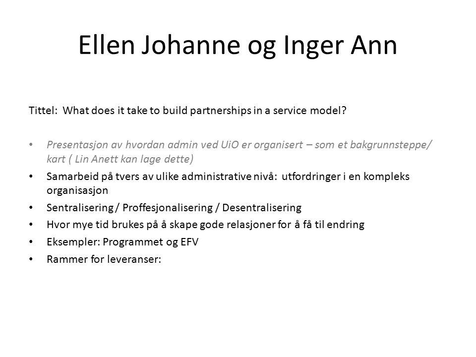 Ellen Johanne og Inger Ann Tittel: What does it take to build partnerships in a service model? Presentasjon av hvordan admin ved UiO er organisert – s