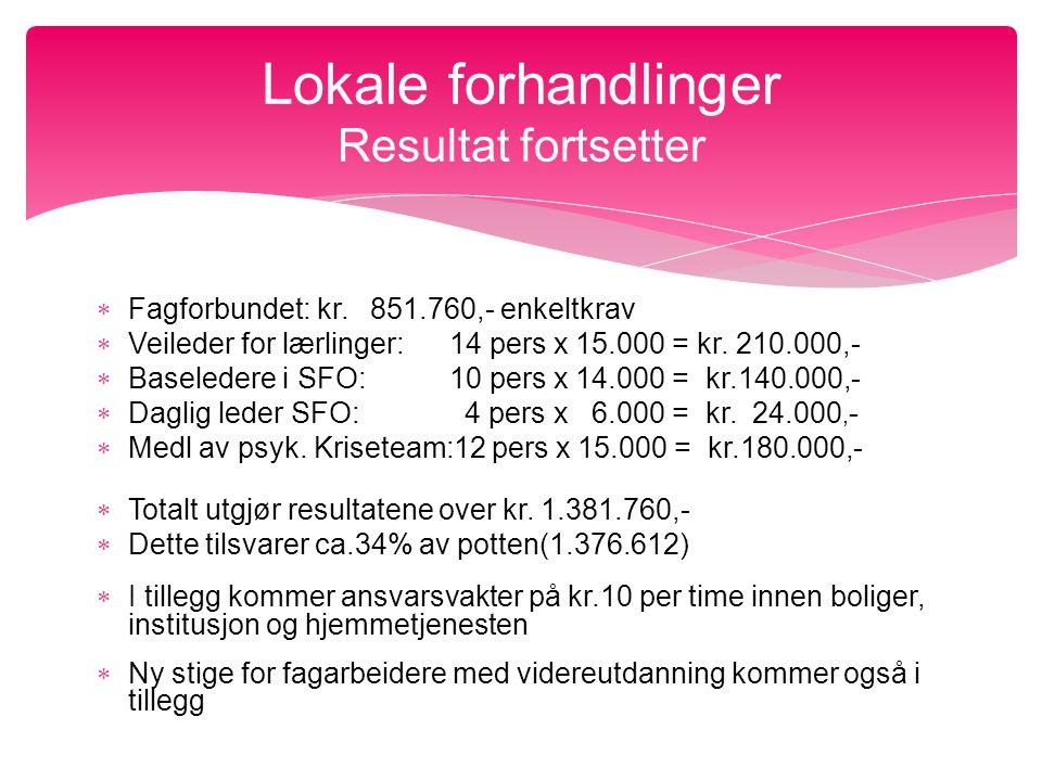  Fagforbundet: kr. 851.760,- enkeltkrav  Veileder for lærlinger: 14 pers x 15.000 = kr.