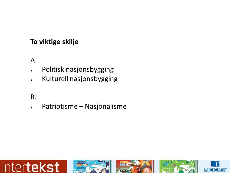 To viktige skilje A.  Politisk nasjonsbygging  Kulturell nasjonsbygging B.