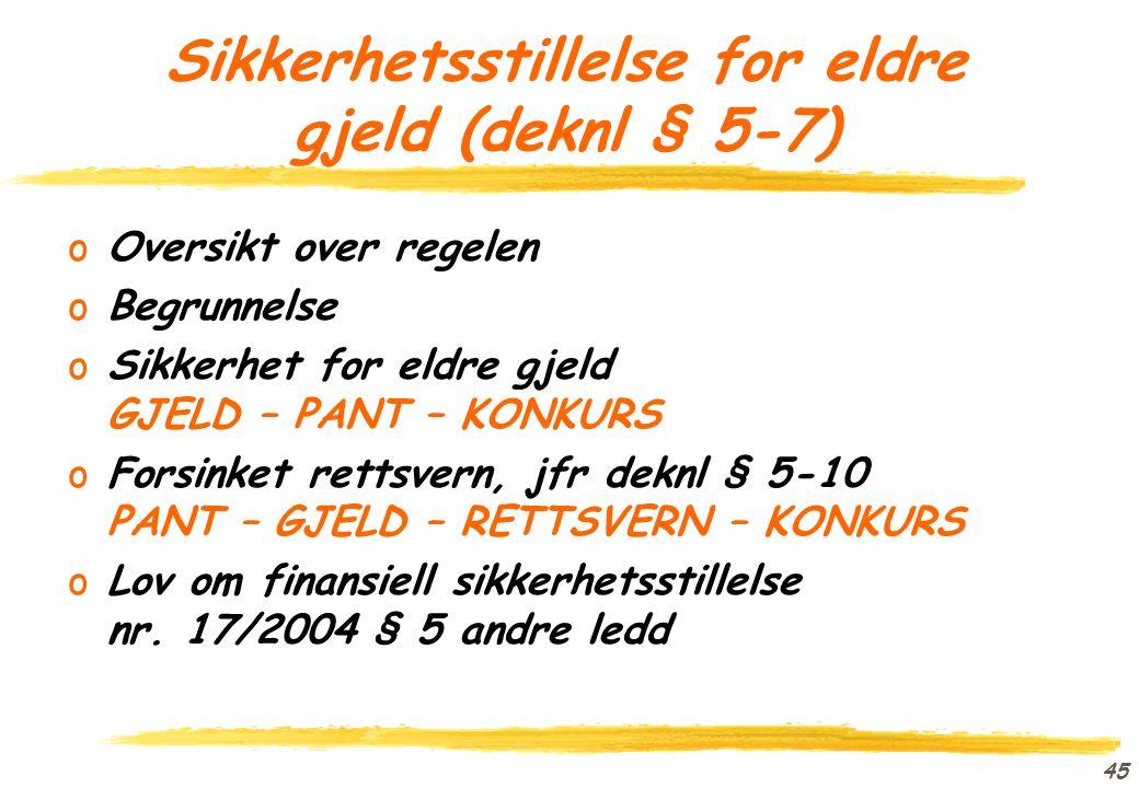 44 Motregning (deknl § 5-6) oOversikt over regelen oBegrunnelse oForholdet til deknl § 5-5 oForholdet til reglene om motregning i konkurs K En som skylder D penger D