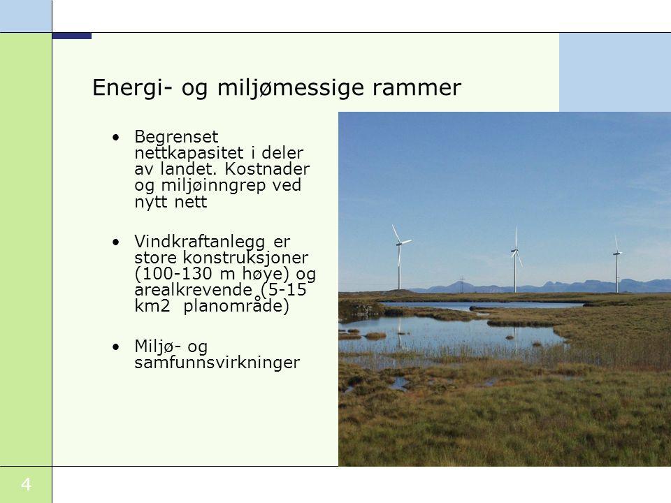 4 Energi- og miljømessige rammer Begrenset nettkapasitet i deler av landet.