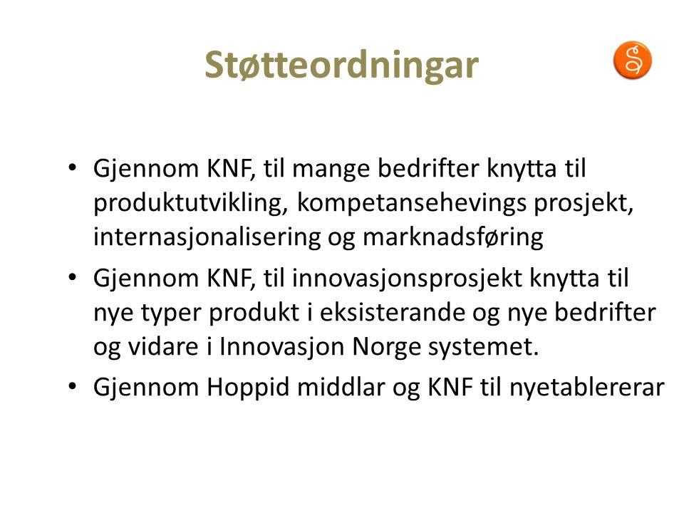 Støtteordningar Gjennom KNF, til mange bedrifter knytta til produktutvikling, kompetansehevings prosjekt, internasjonalisering og marknadsføring Gjennom KNF, til innovasjonsprosjekt knytta til nye typer produkt i eksisterande og nye bedrifter og vidare i Innovasjon Norge systemet.