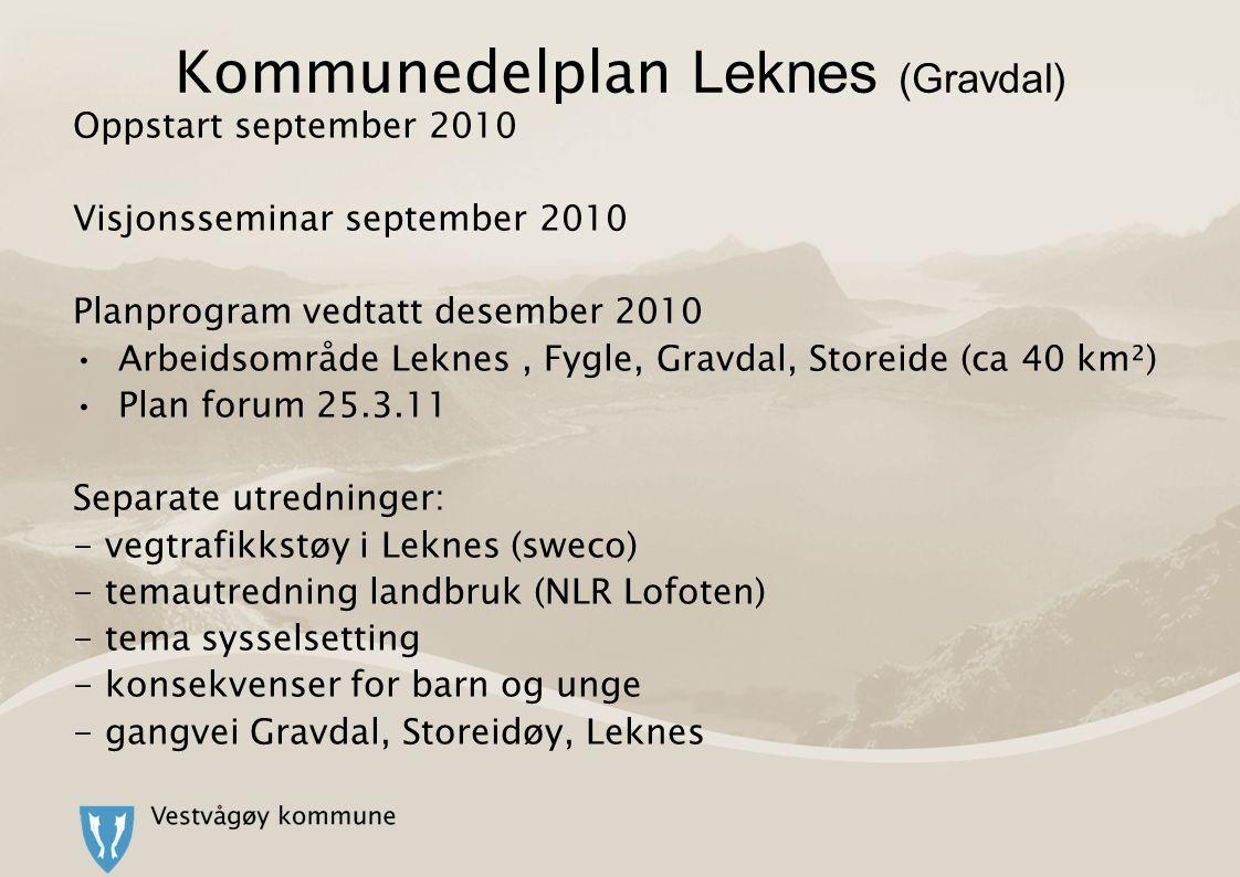 Kommunedelplan Leknes (Gravdal) Oppstart september 2010 Visjonsseminar september 2010 Planprogram vedtatt desember 2010 Arbeidsområde Leknes, Fygle, Gravdal, Storeide (ca 40 km²) Plan forum 25.3.11 Separate utredninger: - vegtrafikkstøy i Leknes (sweco) - temautredning landbruk (NLR Lofoten) - tema sysselsetting - konsekvenser for barn og unge - gangvei Gravdal, Storeidøy, Leknes