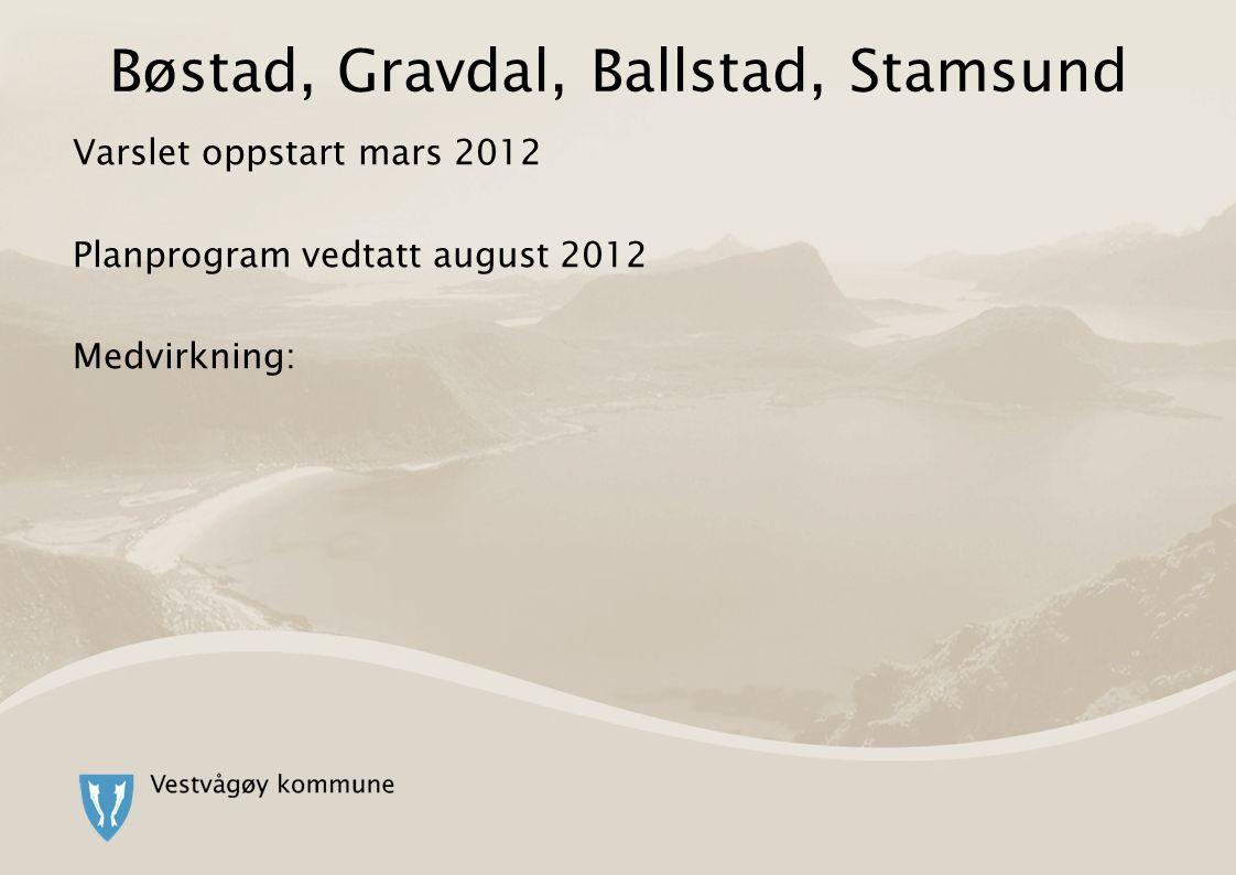 Bøstad, Gravdal, Ballstad, Stamsund Varslet oppstart mars 2012 Planprogram vedtatt august 2012 Medvirkning: