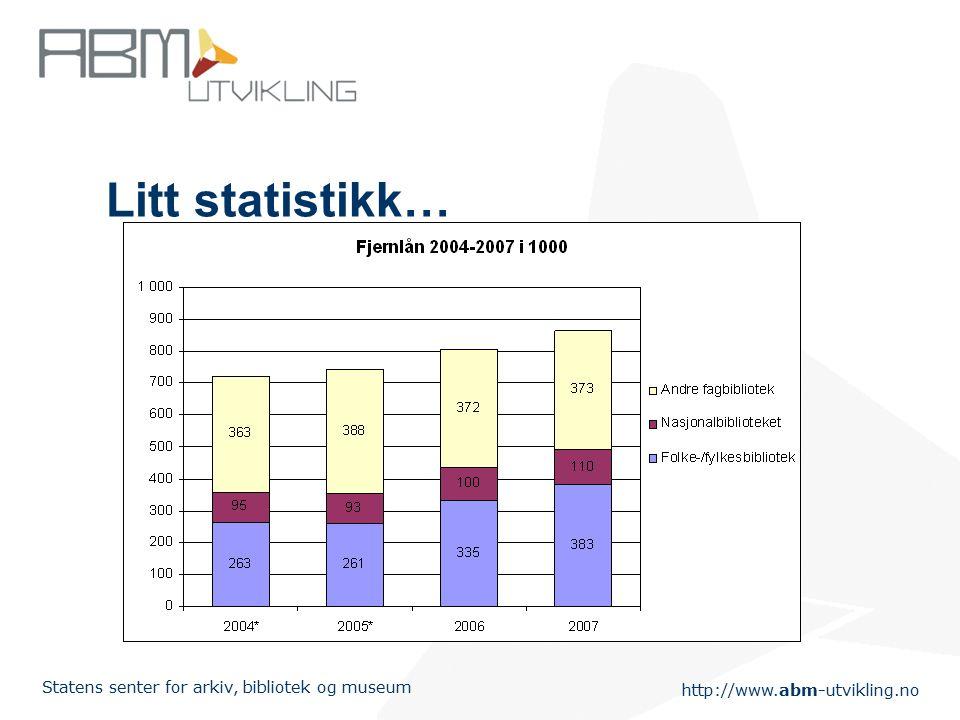 http://www.abm-utvikling.no Statens senter for arkiv, bibliotek og museum Litt statistikk…
