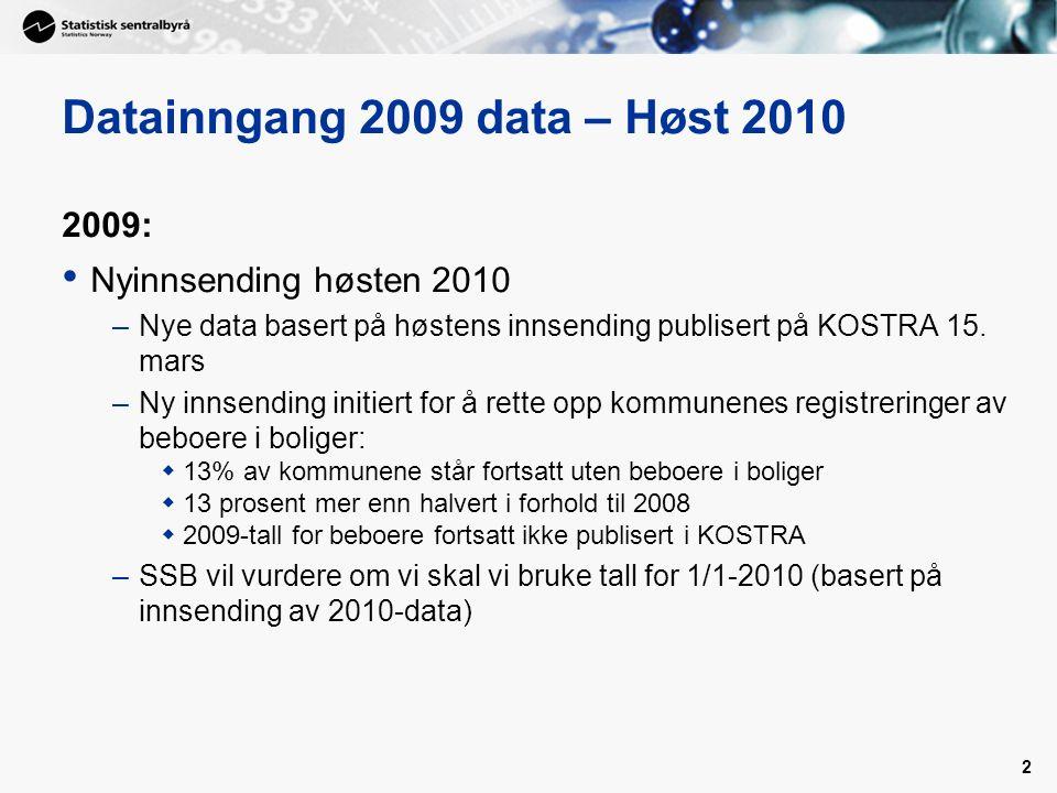 2 Datainngang 2009 data – Høst 2010 2009: Nyinnsending høsten 2010 –Nye data basert på høstens innsending publisert på KOSTRA 15.