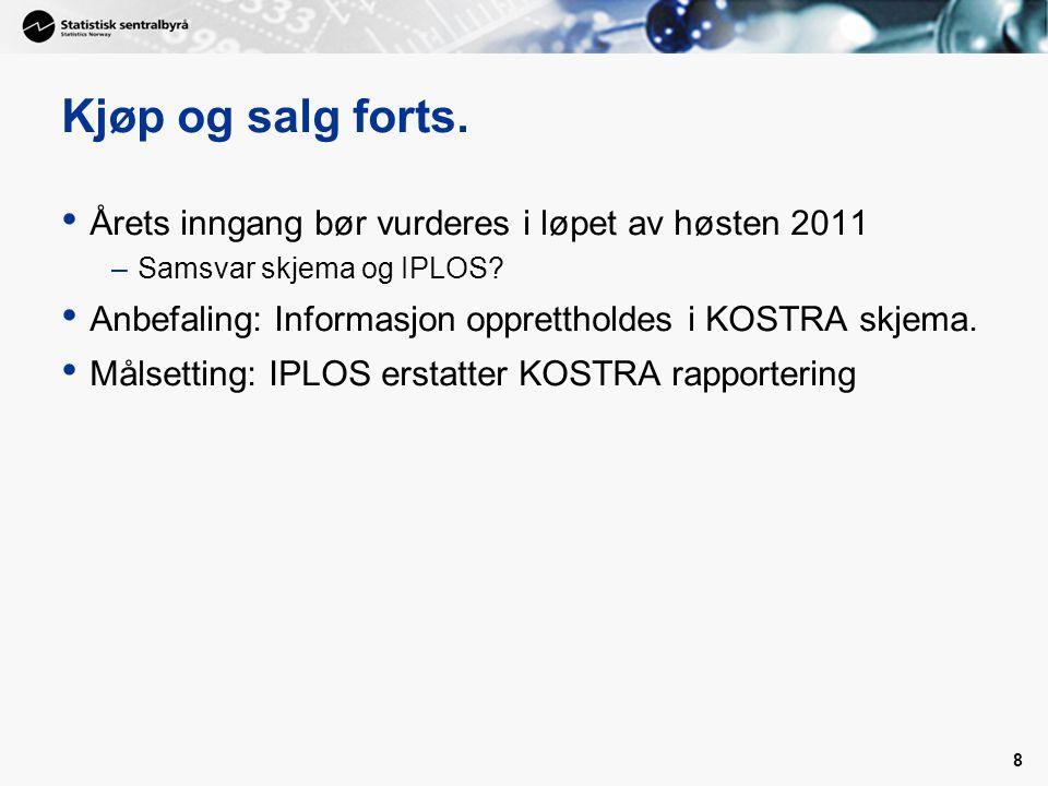 8 Kjøp og salg forts. Årets inngang bør vurderes i løpet av høsten 2011 –Samsvar skjema og IPLOS.