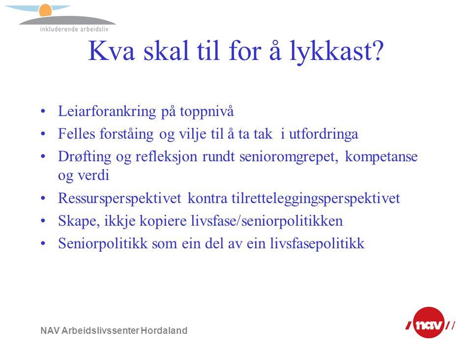 NAV Arbeidslivssenter Hordaland Kva skal til for å lykkast? Leiarforankring på toppnivå Felles forståing og vilje til å ta tak i utfordringa Drøfting