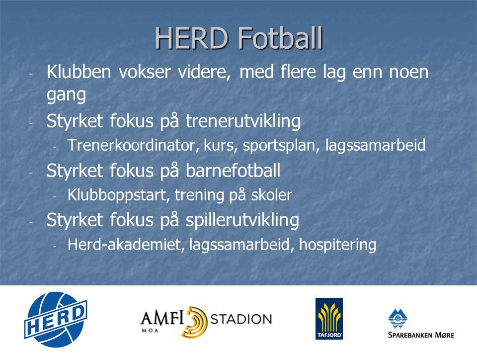 HERD Fotball - - Klubben vokser videre, med flere lag enn noen gang - - Styrket fokus på trenerutvikling - - Trenerkoordinator, kurs, sportsplan, lagssamarbeid - - Styrket fokus på barnefotball - - Klubboppstart, trening på skoler - - Styrket fokus på spillerutvikling - - Herd-akademiet, lagssamarbeid, hospitering