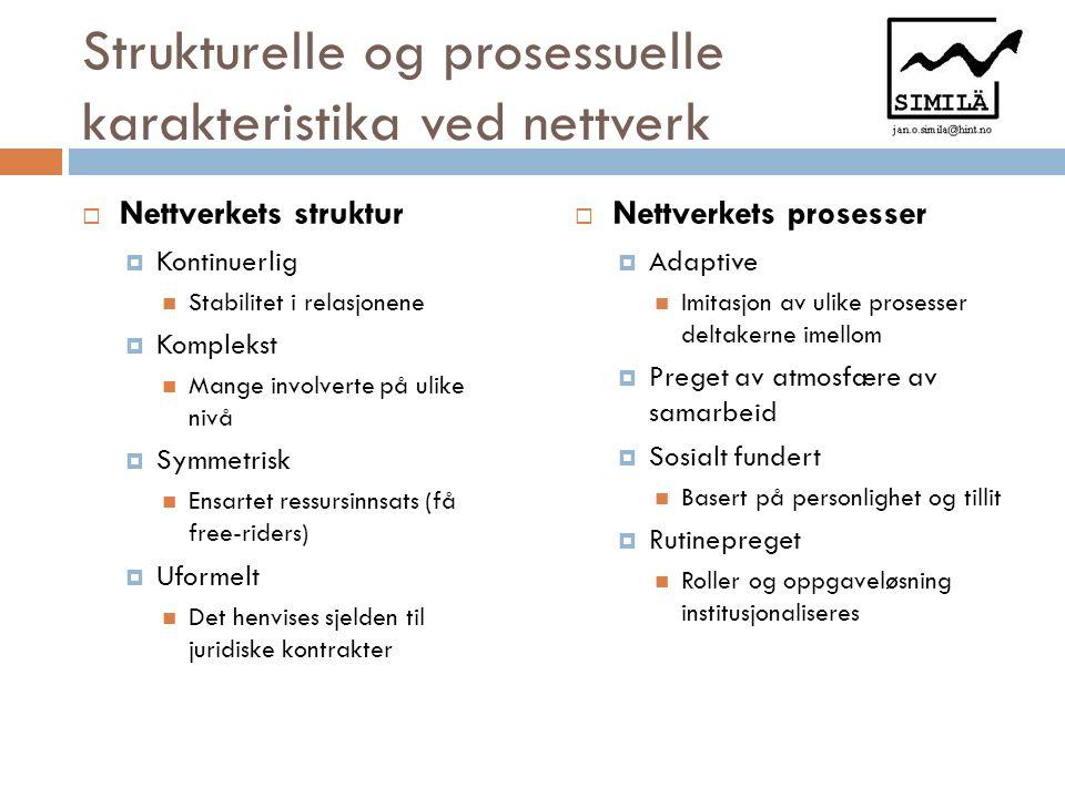 Strukturelle og prosessuelle karakteristika ved nettverk  Nettverkets struktur  Kontinuerlig Stabilitet i relasjonene  Komplekst Mange involverte p