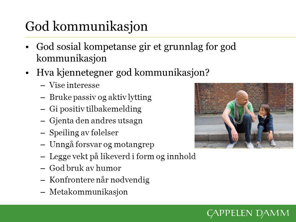 God sosial kompetanse gir et grunnlag for god kommunikasjon Hva kjennetegner god kommunikasjon.