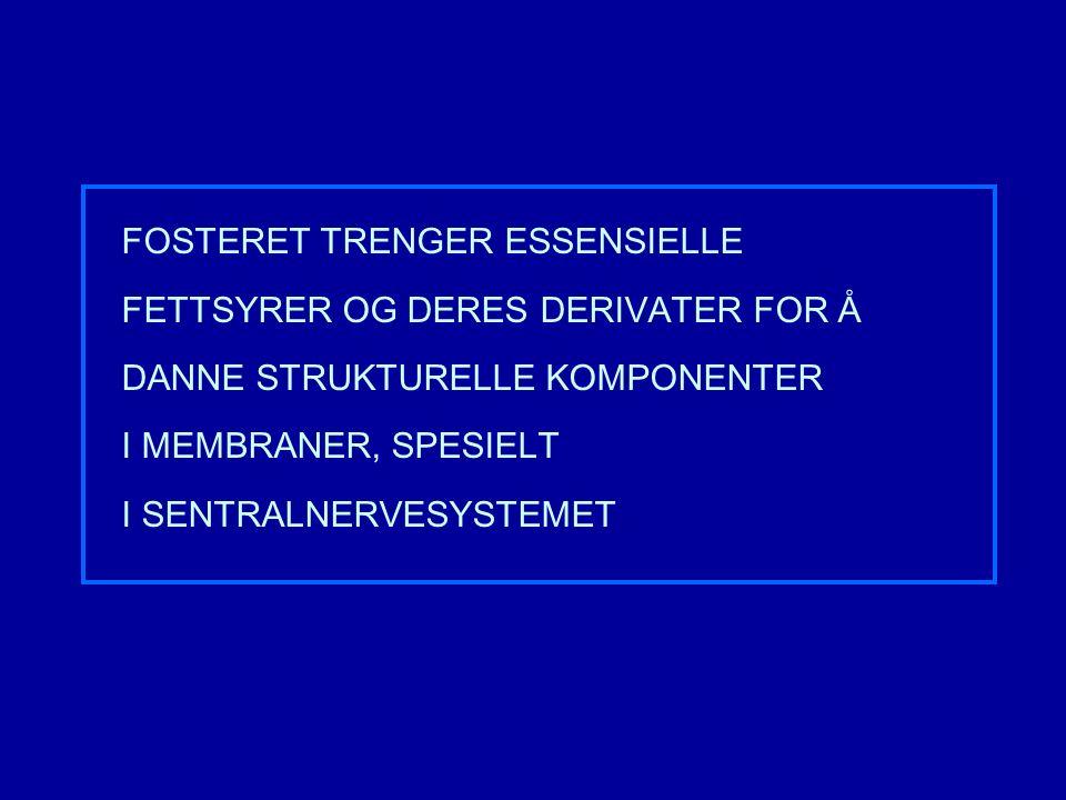 FOSTERET TRENGER ESSENSIELLE FETTSYRER OG DERES DERIVATER FOR Å DANNE STRUKTURELLE KOMPONENTER I MEMBRANER, SPESIELT I SENTRALNERVESYSTEMET