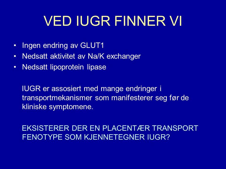 VED IUGR FINNER VI Ingen endring av GLUT1 Nedsatt aktivitet av Na/K exchanger Nedsatt lipoprotein lipase IUGR er assosiert med mange endringer i transportmekanismer som manifesterer seg før de kliniske symptomene.