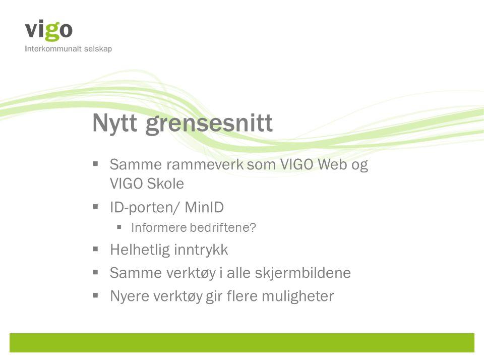 Nytt grensesnitt  Samme rammeverk som VIGO Web og VIGO Skole  ID-porten/ MinID  Informere bedriftene.