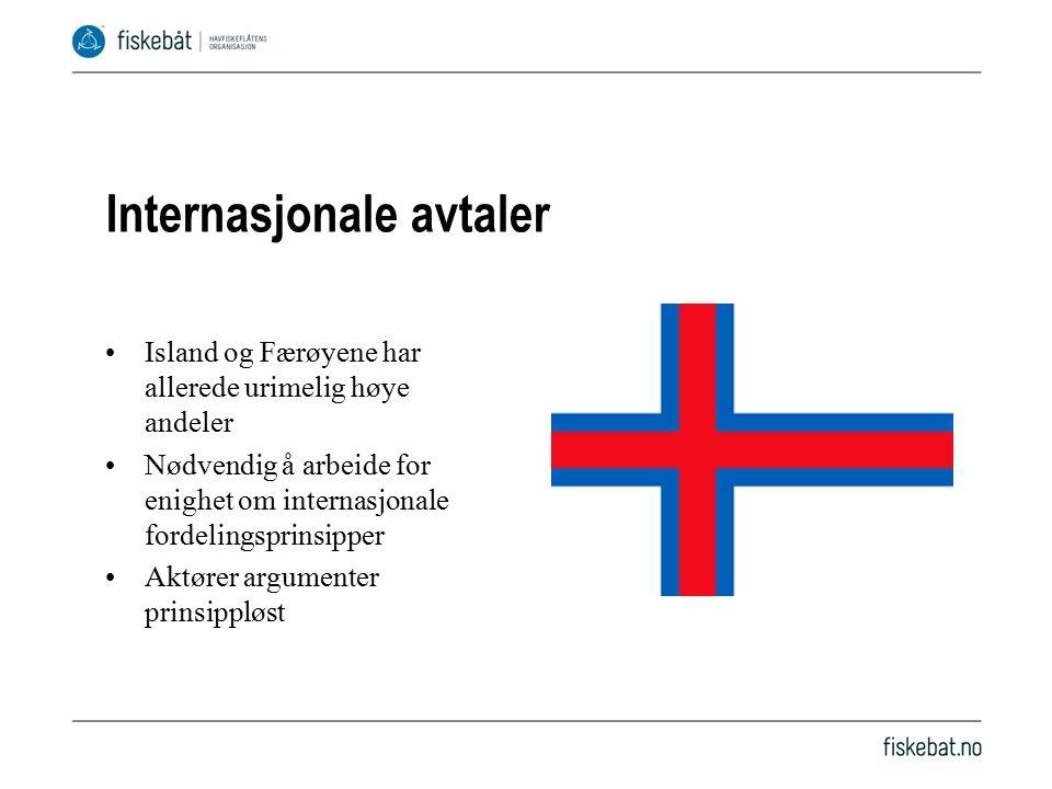 Internasjonale avtaler Island og Færøyene har allerede urimelig høye andeler Nødvendig å arbeide for enighet om internasjonale fordelingsprinsipper Aktører argumenter prinsippløst