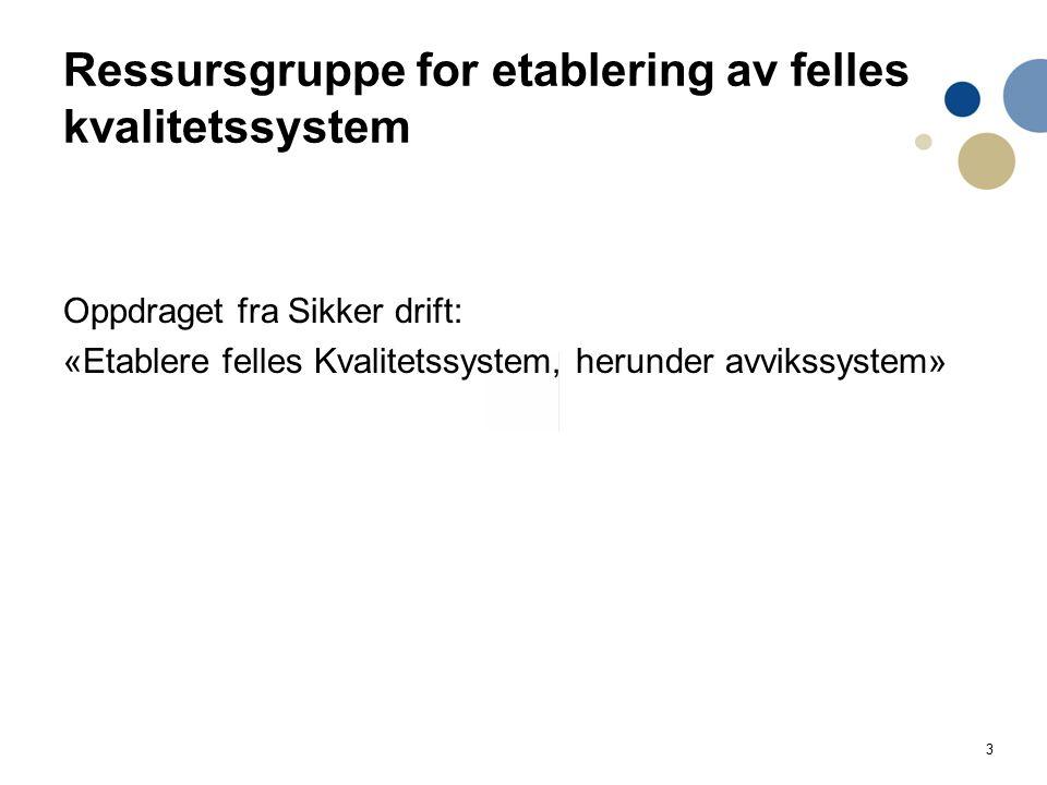 3 Ressursgruppe for etablering av felles kvalitetssystem Oppdraget fra Sikker drift: «Etablere felles Kvalitetssystem, herunder avvikssystem»