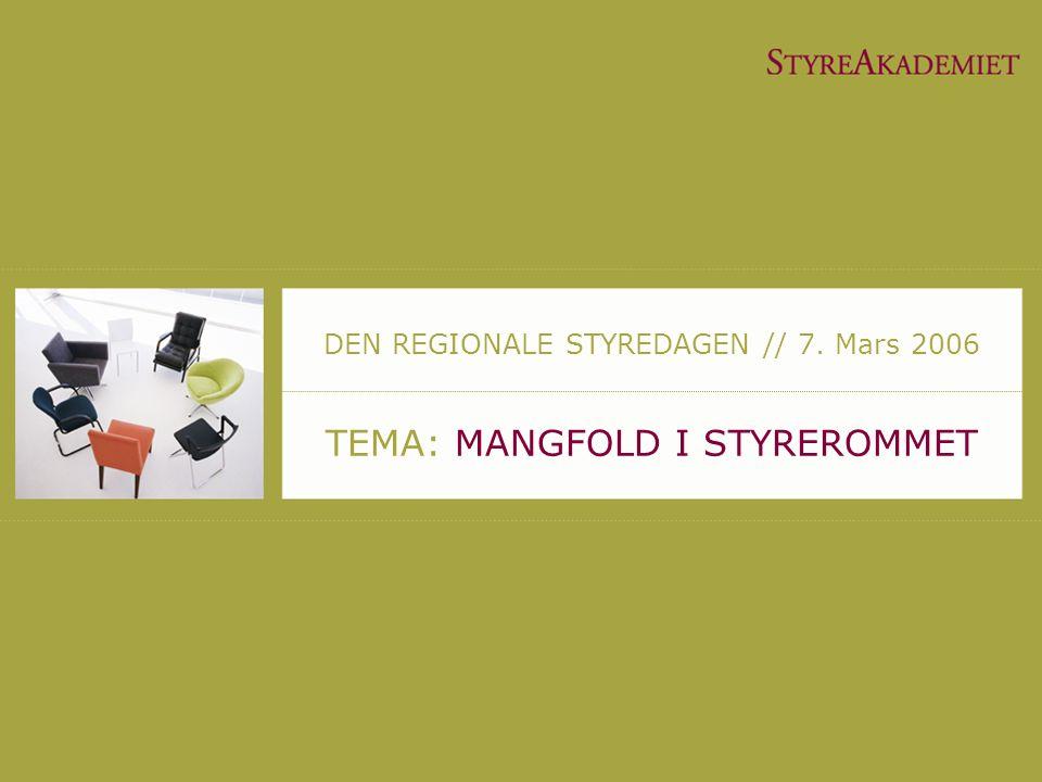 TEMA: MANGFOLD I STYREROMMET DEN REGIONALE STYREDAGEN // 7. Mars 2006
