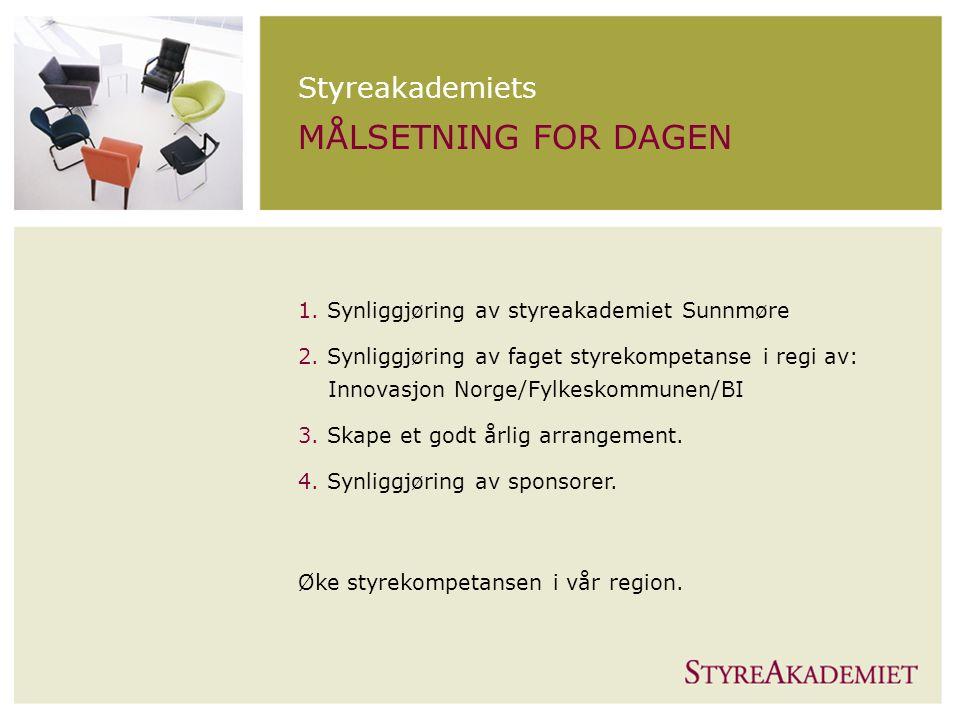 STYREAKADEMIET Styreakademiets MÅLSETNING FOR DAGEN 1.