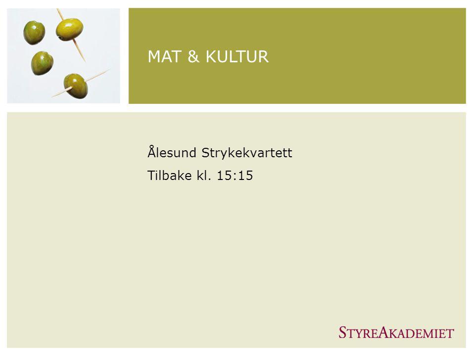 MAT & KULTUR Ålesund Strykekvartett Tilbake kl. 15:15